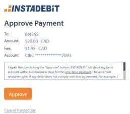 Instadebit Bet365 deposit