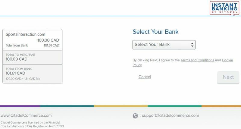 Instant Banking Sports Interaction withdrawal