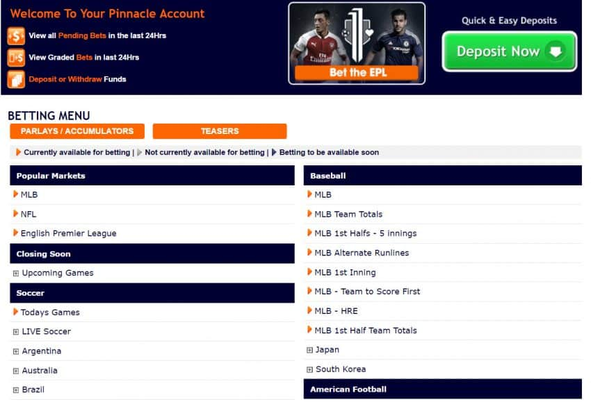 Pinnacle sportsbook website